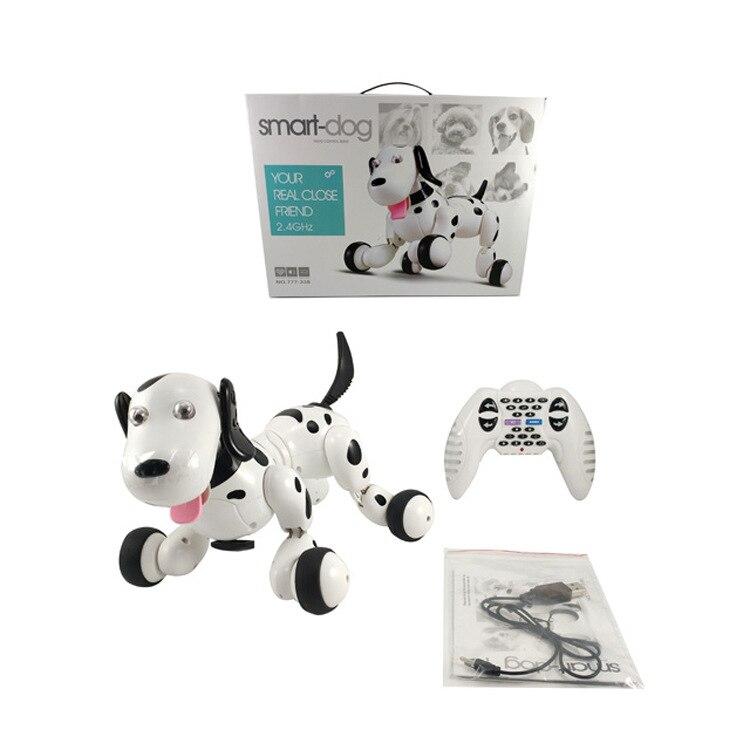 Cão de brinquedo mecânico inteligente 2.4g cão controle remoto sem fio novo educacional dança elétrica arte programável fazer g