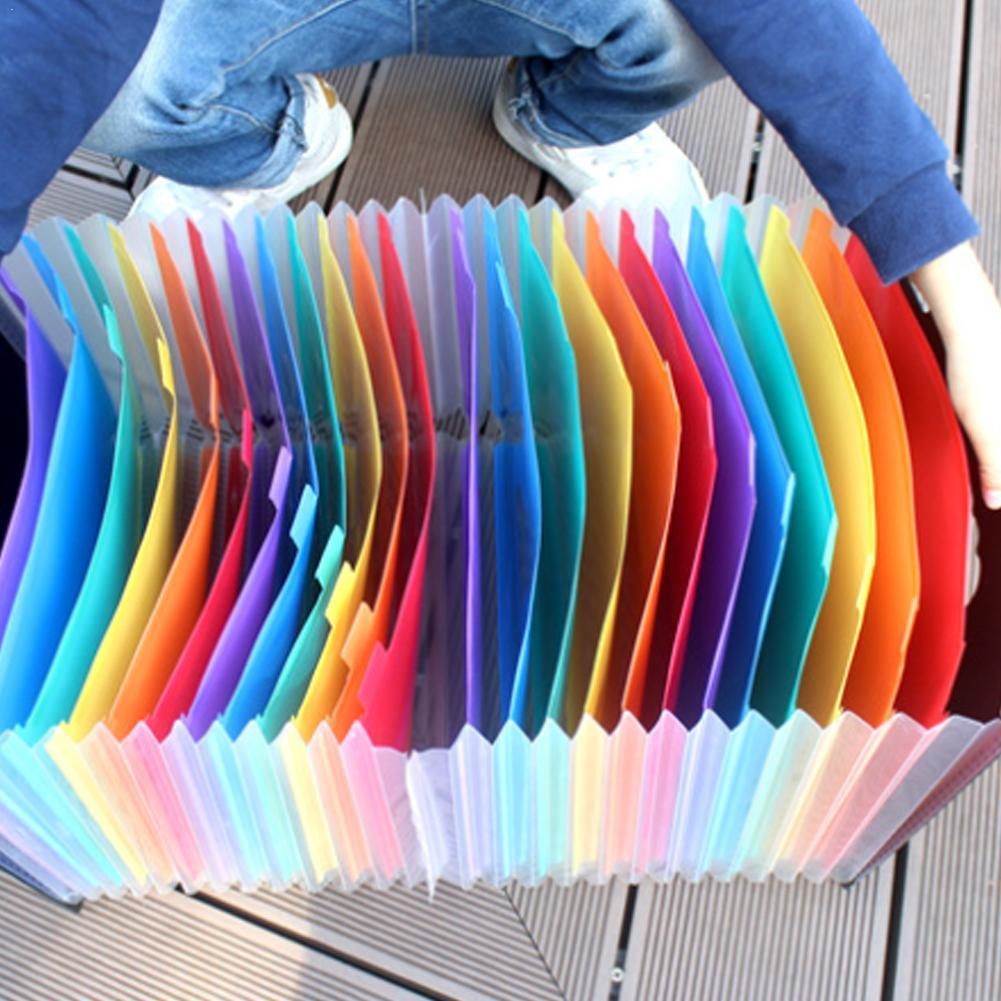 New 24 Pockets Expanding File Folder A4 Organizer Portable Holder Supplies Document Archivador Carpeta Business File Office D3U2