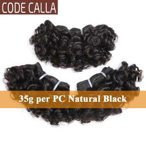 Image 3 - Code Calla Bouncy Curly Hair Weave Bundles Double Draw Brazilian Remy Human Hair Extensions Natural Dark Brown Color Short Curly