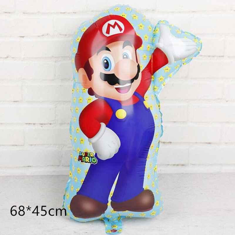 1pcs/lot 60*45cm Red Super Mario balloon Classic Toys Mario Bros Mylar balloons birthday party decoration balloons kid toys