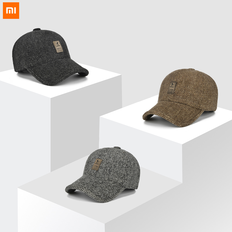 Xiaomi Baseball Cap Winter Dad Hat Warm Thickened Cotton Snap Back Caps Ear Protection Fitted Hats Fashion Adjustable For Men