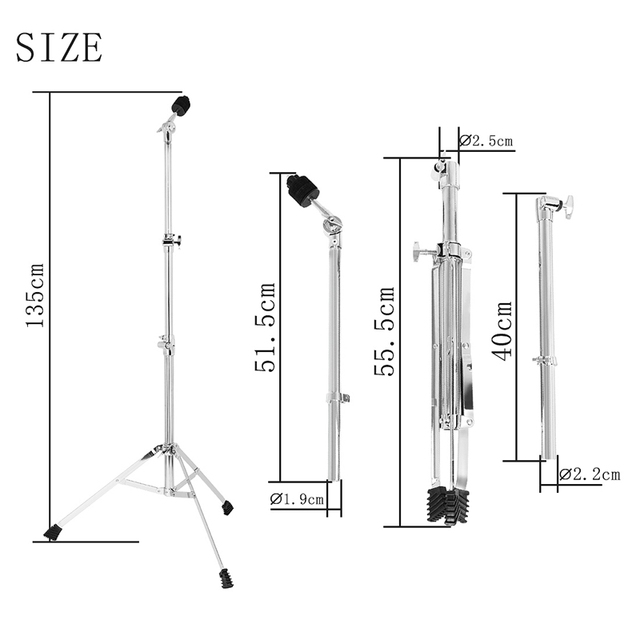 Drum Stand Snare Dumb Holder Cymbal Triple-Cornered Bracket Support All of Size Cymbal for Drum Set