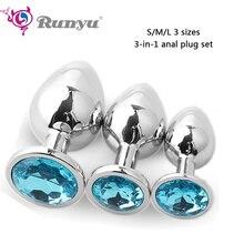 Runyu 3pcs/Set S&M&L Smooth Metal Anal Plug With Crystal Waterproof Anus Dilator Butt Beads Sex Toys for Men/Women