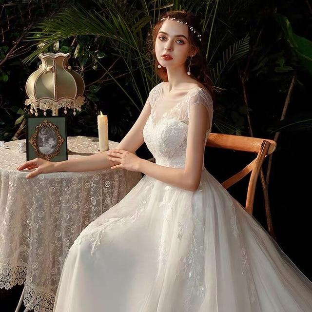 Boho robe de mariee vestido novia wedding dress longue Robe De Soiree simple robe de soiree bride to be gown lace robe 5