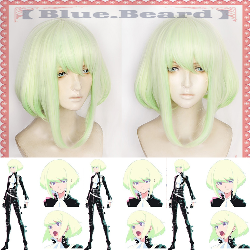New PROMARE Mad Burnish Lio Fotia 35cm Gradient Short Straight Heat Resistant Synthetic Hair Anime Cosplay Wig + Wig Cap