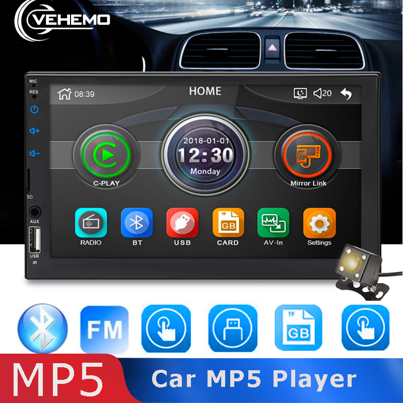 Vehemo Mp5-Player Automotive Rear-View Aux/tf-Wheel-Control 2DIN 7inch Car For 1080P