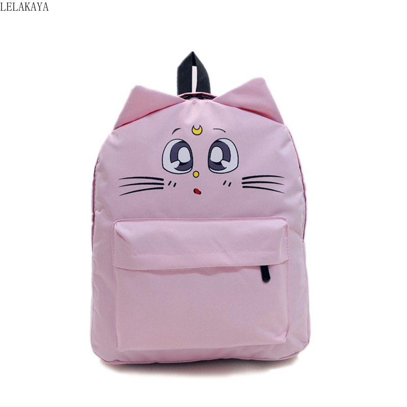 Anime Sailor Moon Cute Luna Cat Ears Fashion Canvas School Backpack Lovely Cartoon Travel Shoulder Bag Bagpack For Teenager Girl