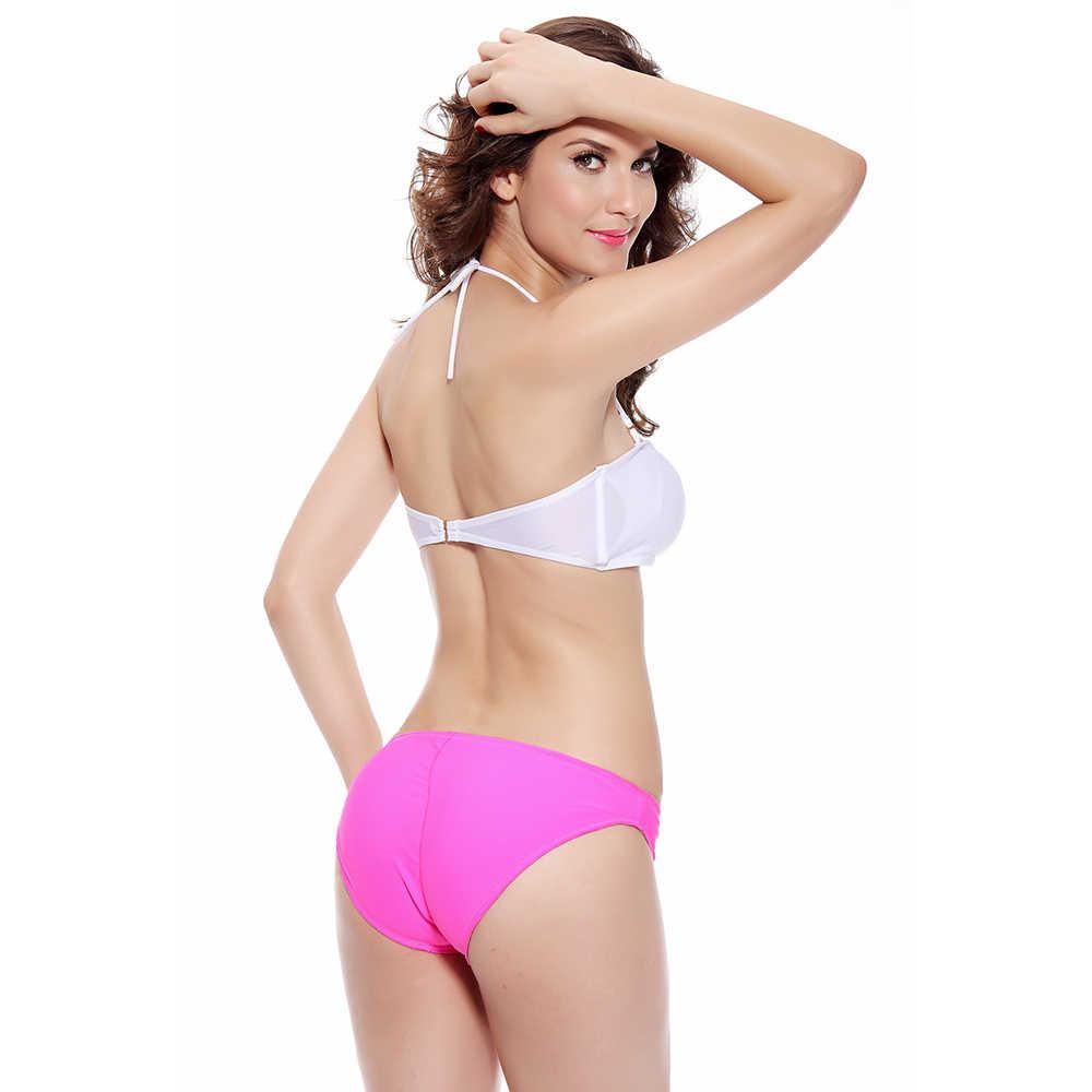 Wanita Seksi BoHo Berlian Buckle Bikini Push-Up Baju Renang Tabung Atas Swimsuit Beachwear Mandi Biquinis Dua Potong Berenang Musim Panas