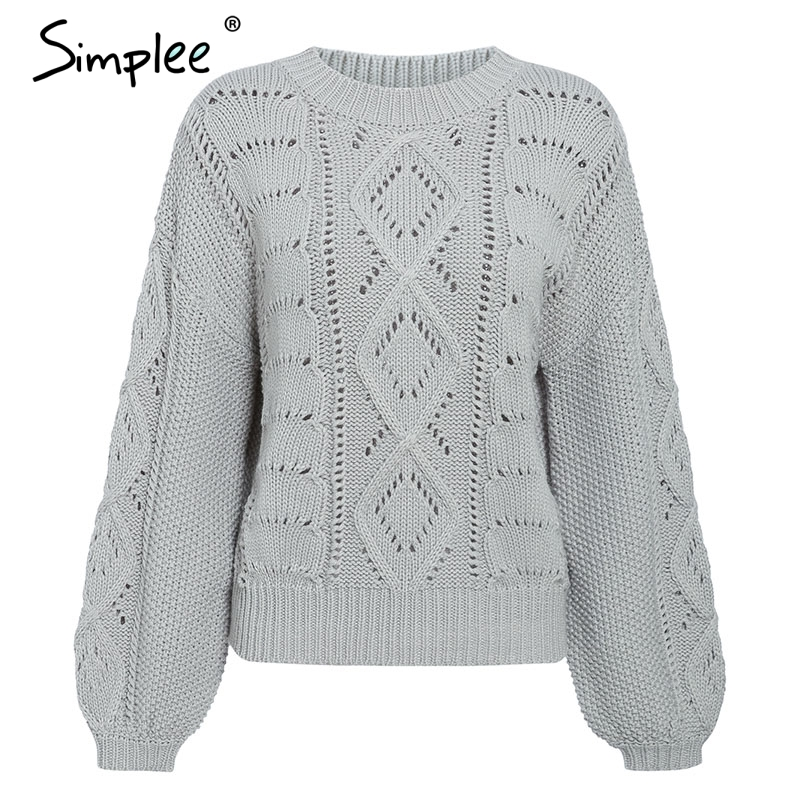 Simplee Hollow out knitted women pullover sweater Lantern sleeve female autumn winter sweater O-neck casual ladies jumper 19 10