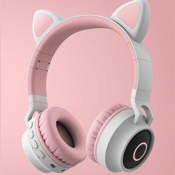 Auriculares Bluetooth 5,0 auriculares inalámbricos Oreja de Gato luz LED auriculares de música estéreo auricular de mujer para PC