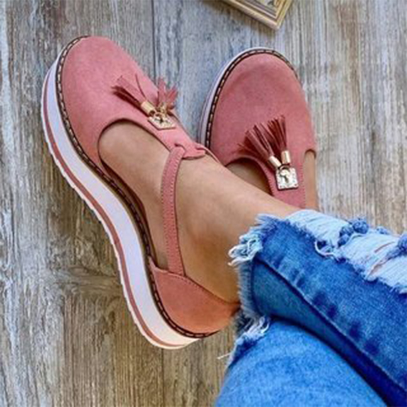 Women Vulcanize Shoes Solid Fashion Buckle Strap Fringe Cover Heel Flat Platform Heel Casual Plus Size Shoes New Summer Flat