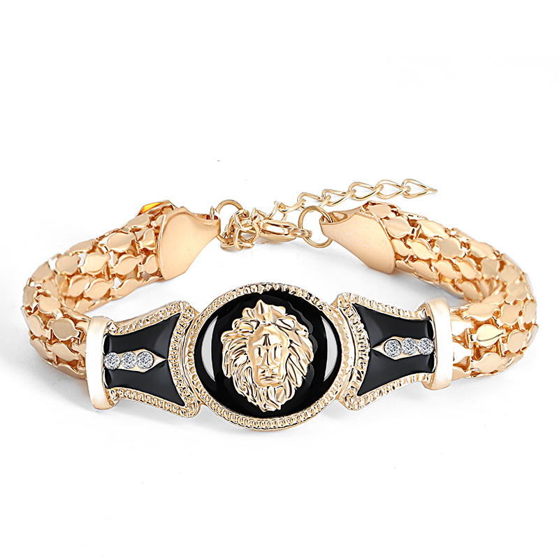 Cool Hip Hop Gold Lion Head Bracelets Women Men Lovers Link Chain Rock Punk Bangles Fashion Party Wedding Jewelry Accessories