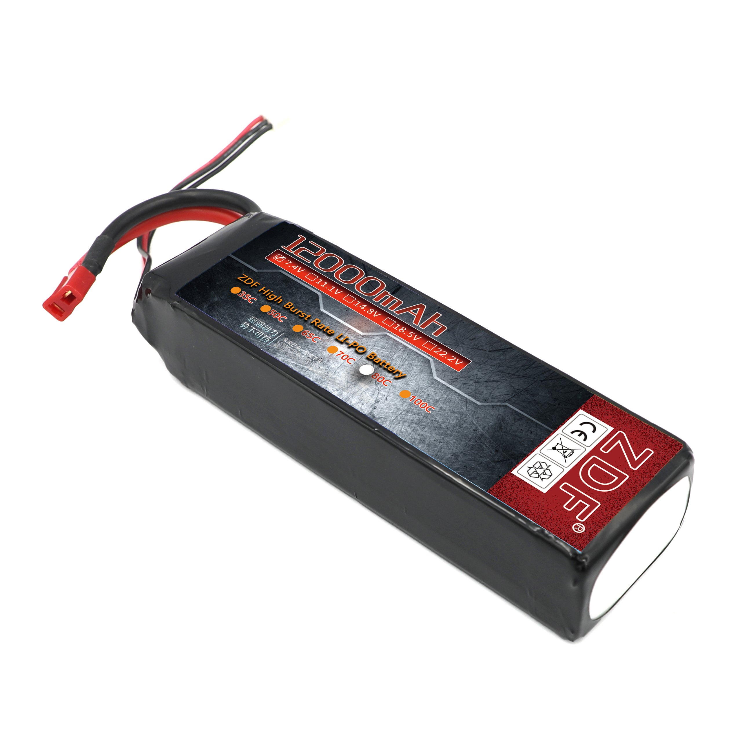 ZDF 7.4V RC Lipo Battery 12000mAh RC Battery 80C Battery lipo 2s Rechargeable Battery for racer racing RC Car Boat Truck image