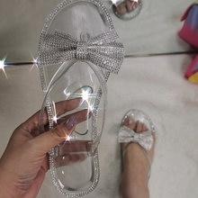 Шлепанцы женские с бантом и кристаллами, милые сандалии на плоской подошве, пляжные тапочки, красивые, летние Тапочки