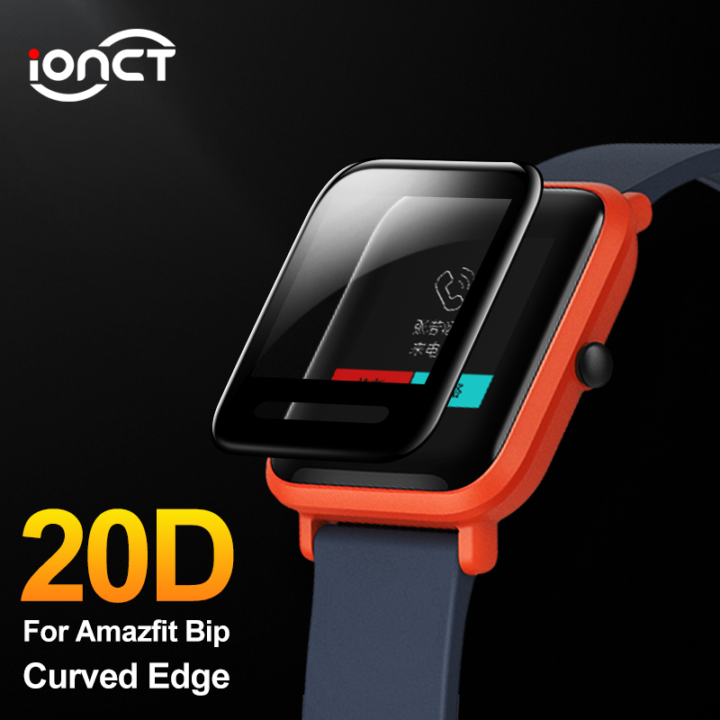 IONCT 20D Curved Edge Protective For Xiaomi Huami Amazfit Bip Glass Accessories HD Film Full Cover Amazfit Bip Screen Protector