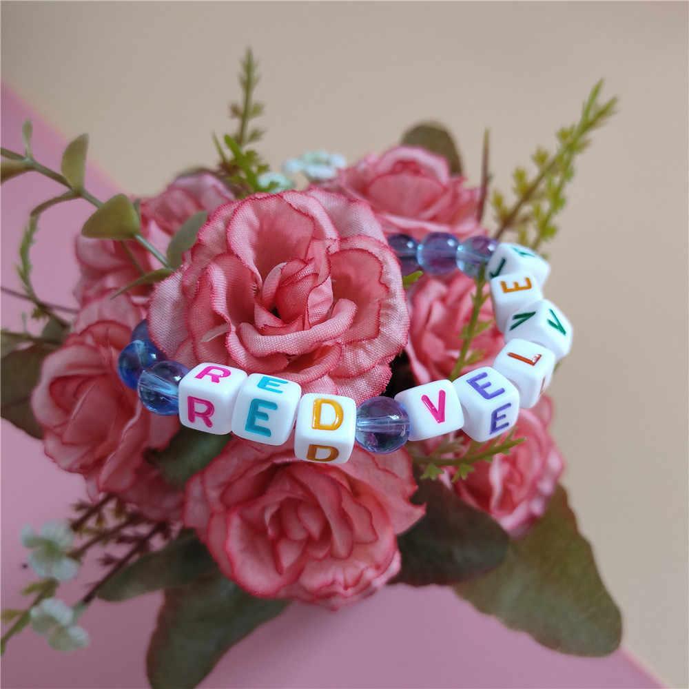 1 sztuk Red Velvet bransoletka z paciorkami kpop moda wysokiej jakości dla kobiet biżuteria k-pop czerwona aksamitna bransoletka nowości