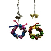 Get more info on the P2pcs/set Colorful Pet Birds Parrot Toy with Christmas Bells Pet String Toys Cage Hanging Decoration CM