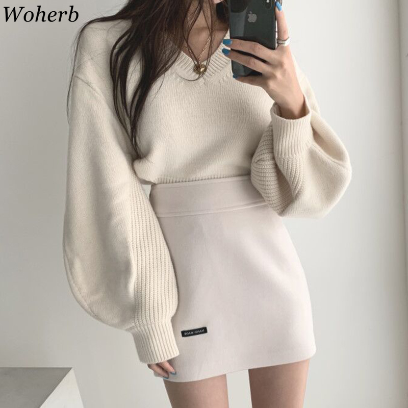 Woherb Elegant Lantern Sleeve V-neck Sweater Women Korean Sexy Split Side Loose Pullover Back Bandage Knitted Jumper Korean
