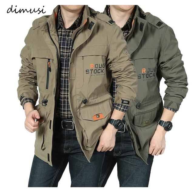 DIMUSI Men's Jackets Casual Outwear Hiking Windbreaker Hooded Coats Fashion Army Cargo Bomber Jackets Mens Clothing 1
