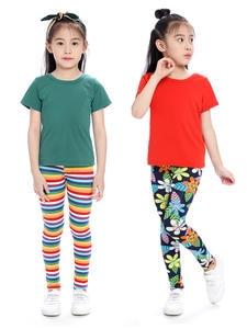 SLAIXIU Girls Leggings Pencil-Pants Flower Kids Trousers Printing Camo Cotton for Soft