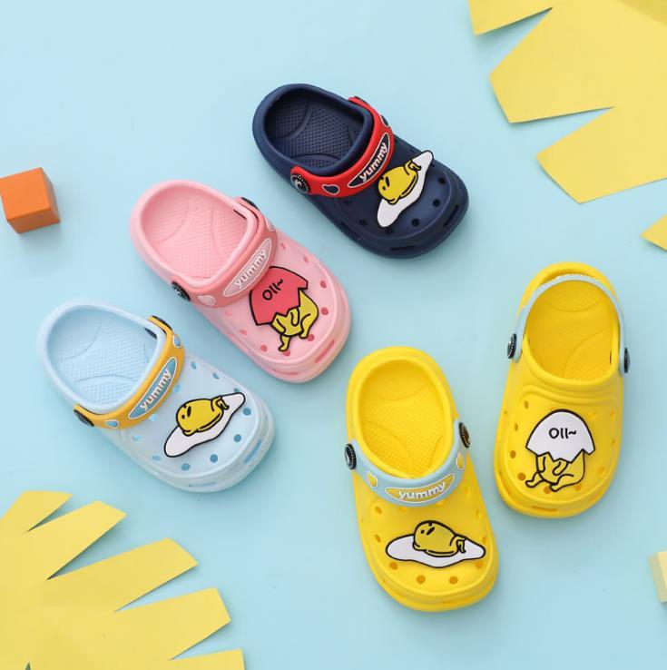 Summer Children Boys Girls EVA Slippers Egg Yolk Non-slip Beach Hole Shoes 4colors 140-180 D01 XQ01
