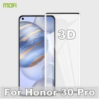 Mofi 3d curvado vidro temperado para honra 30 pro película protetora huawei honor30 protetor de tela resistente a riscos impressão digital 1 + 8