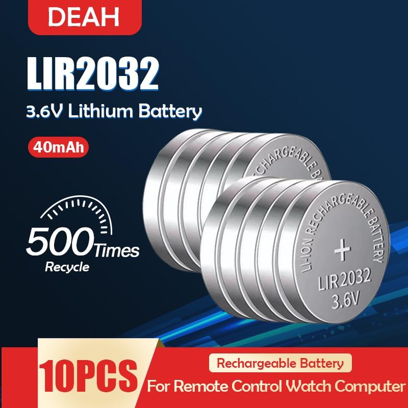 10 sztuk LIR2032 LIR 2032 3.6V akumulator litowy wielokrotnego ładowania do zegarka zdalnego sterowania skala przycisk ogniwo monety wymienić CR2032 ML2032