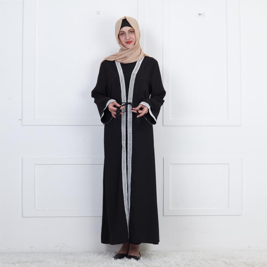 Wholesale Plus Size Dubai Fashion Lace Stitching Muslim Abaya Female Full Length Islamic Prayers  Abayas Islamic Robe Wq2220