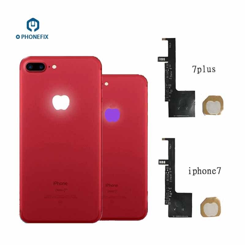 PHONEFIX esnek 16 renkler arka LED logo ışığı Flex kablo iPhone 6 6P 6S 6 6SP 7 7P led ışık parlayan Logo parçaları değiştirin