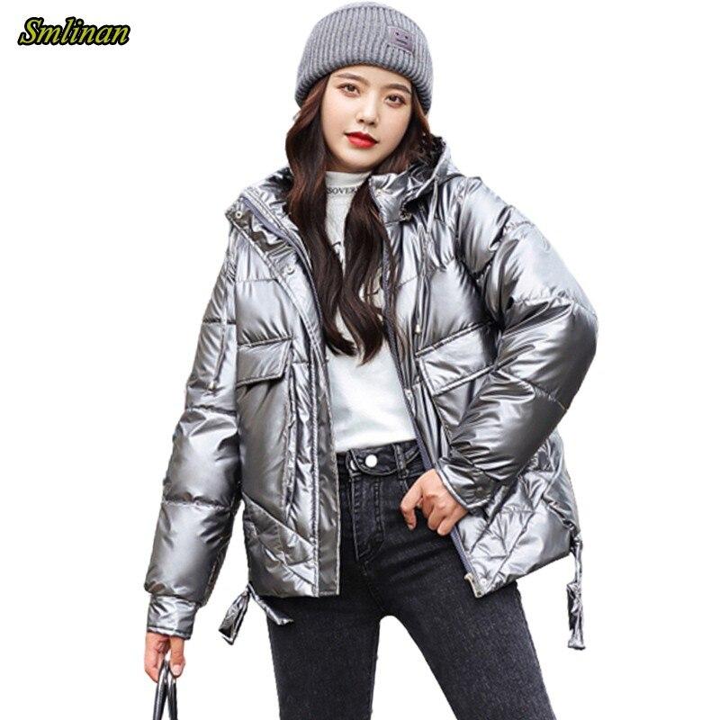 Зимняя стеганая куртка Smlinan, женская зимняя одежда с капюшоном, водонепроницаемое пальто, женская повседневная короткая парка Парки    АлиЭкспресс