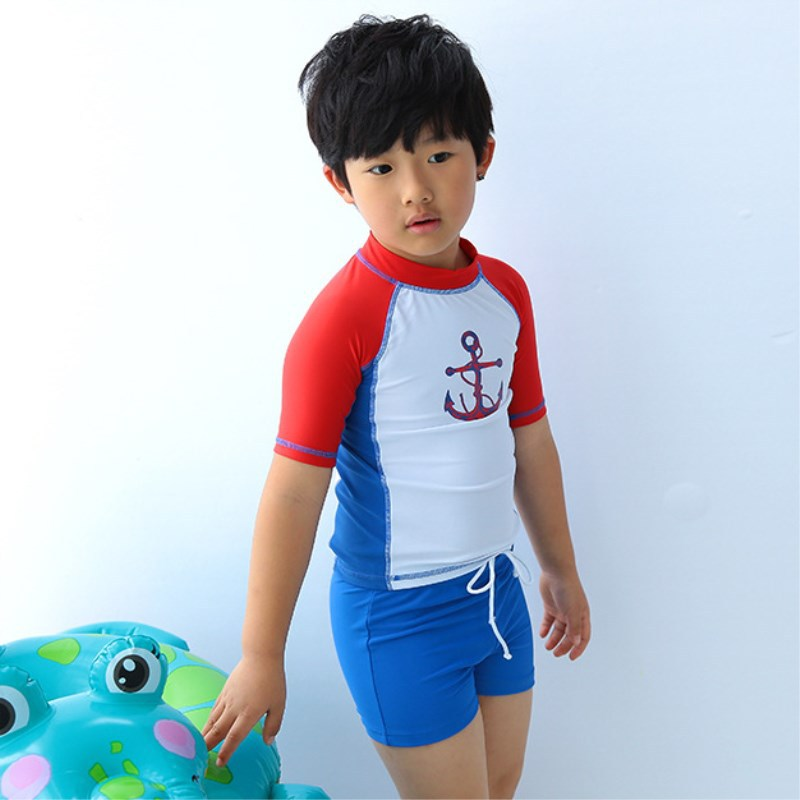 Red And Blue White Lifting Hook Split Type Diving Suit KID'S Swimwear Cute Boy Infants Small Children Surf Wear Swimwear