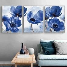 Cartaz nórdico estilo moderno bela flor azul pintura a óleo impressão mural sala de estar decoração casa pintura