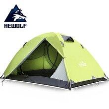 Hewolf açık Ultralight kamp 2 kişi alüminyum çadır çift katmanlı su geçirmez kamp çadırı Carpas De kamp