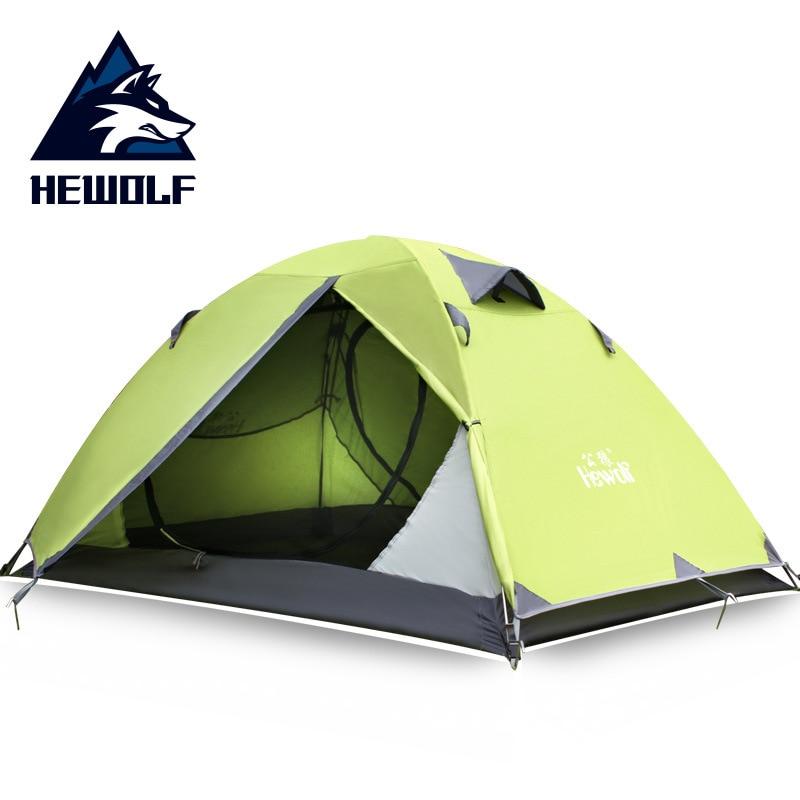 Hewolf extérieur ultraléger Camping 2 personnes tente en  aluminium Double couche imperméable Camping tente Carpas De Campingtent  and awning fabrictent settent pole