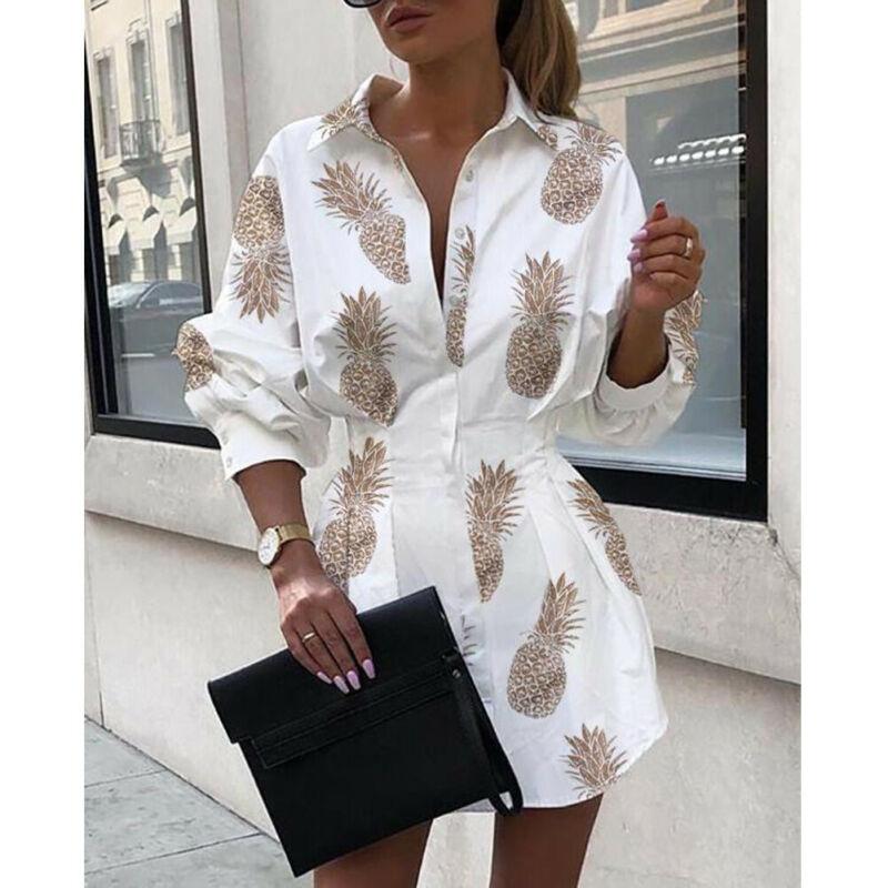 Meihuida Summer Autumn Women Long Sleeve Mini Shirt Dress Button V Neck Three Quarter Sleeve Waist Collection Blouses Dress 2