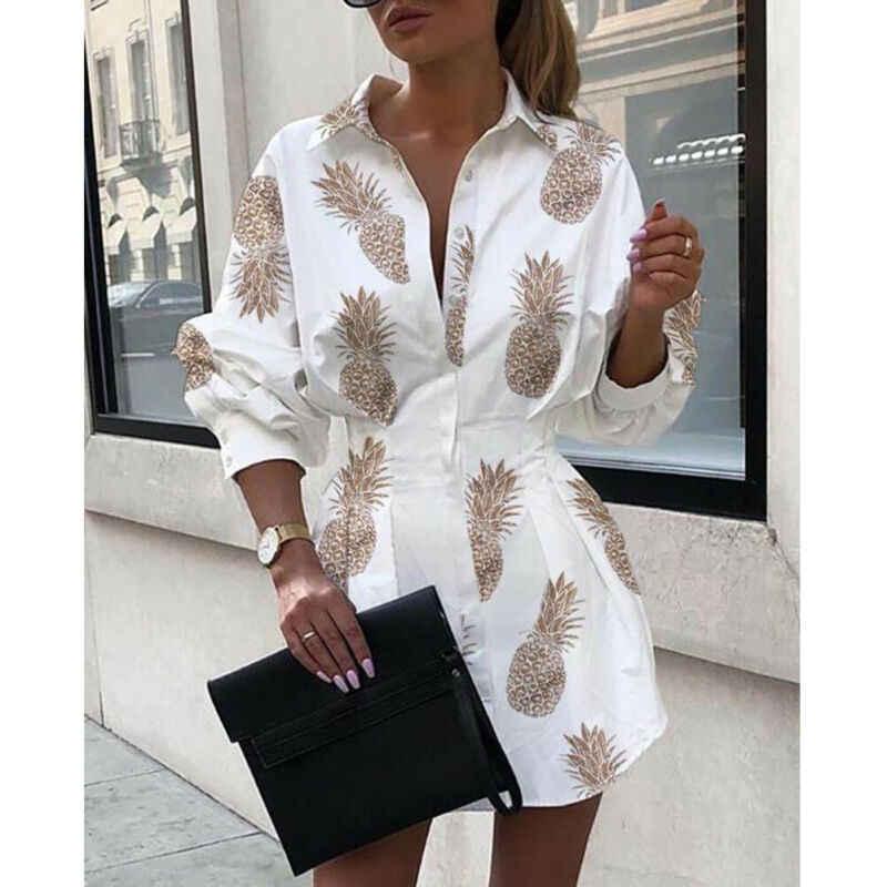Meihuida 여름 가을 여성 긴 소매 미니 셔츠 복장 단추 V 목 3 분기 슬리브 허리 컬렉션 블라우스 드레스