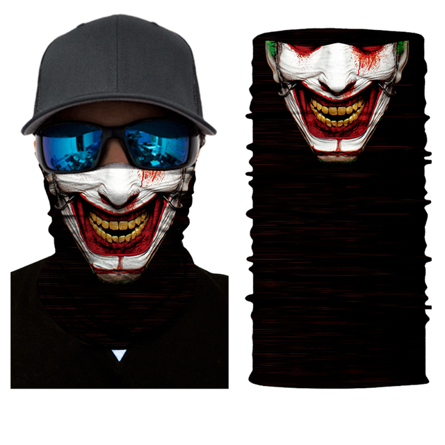 Motorcycle Face Mask Bicycle Skull Half Face Mask Ghost Scarf Multi Use Neck Summer