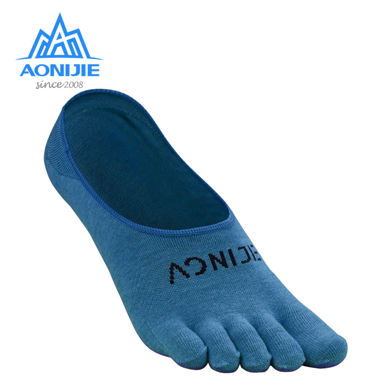 AONIJE 1Pair Quick Drying Sock Slippers Ultralight Five Toes Socks Invisible Sokken With Silicone Anti-Skid For Marathon Running