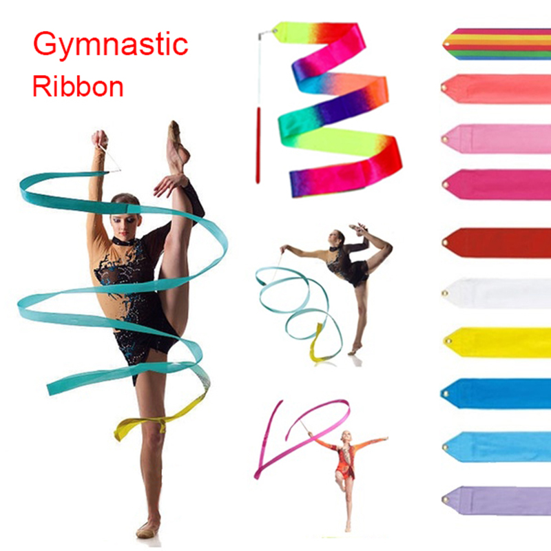 2M/4M Colorful Gym Ribbons Dance Ribbon Rhythmic Art Gymnastics Ballet Streamer Twirling Rod Stick Workout Exercise Equipment