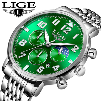 LIGE New Green Water Ghost Watch Men Chronograph Men Sport Watch Waterproof Full Steel Quartz Men Watches Relogio Masculino+Box luxury leather gift box pacific angel shark sport watch 24hrs chronograph luminous steel water resistant men watches sh315 319