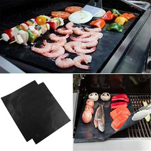 Reusable Non-stick BBQ Grill Mat 40cm x 33cm PTFE Heat Resistance BBQ Grilling Sheets/Cooking Clamp Outdoor Picnic Kitchen Tool