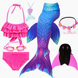 Image 5 - 수영을위한 키즈 수영복 인어 꼬리 Monofin Fin girls가있는 인어 꼬리 수영 Kids Mermaid Cosplay Costume