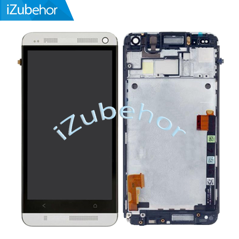 For Htc One M7 801e 802D 802W Lcd Screen Display WIth Touch Glass DIgitizer+Frame Assembly SIngle Or Dual Sim Version