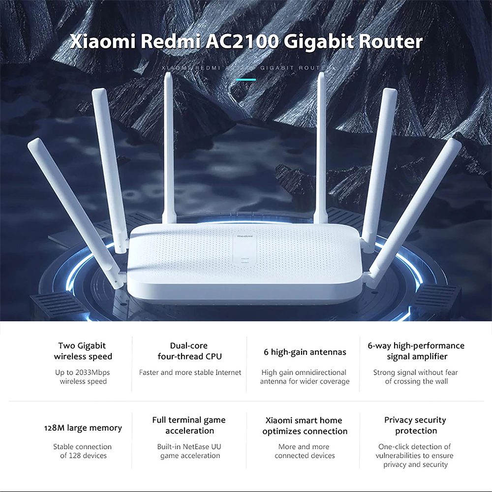 Xiaomi Redmi AC2100 Wireless Route Gigabit 2.4G 5.0GHz Dual-Band 128M RAM Coverage External Signal Amplifier Repeater PPPOE 2