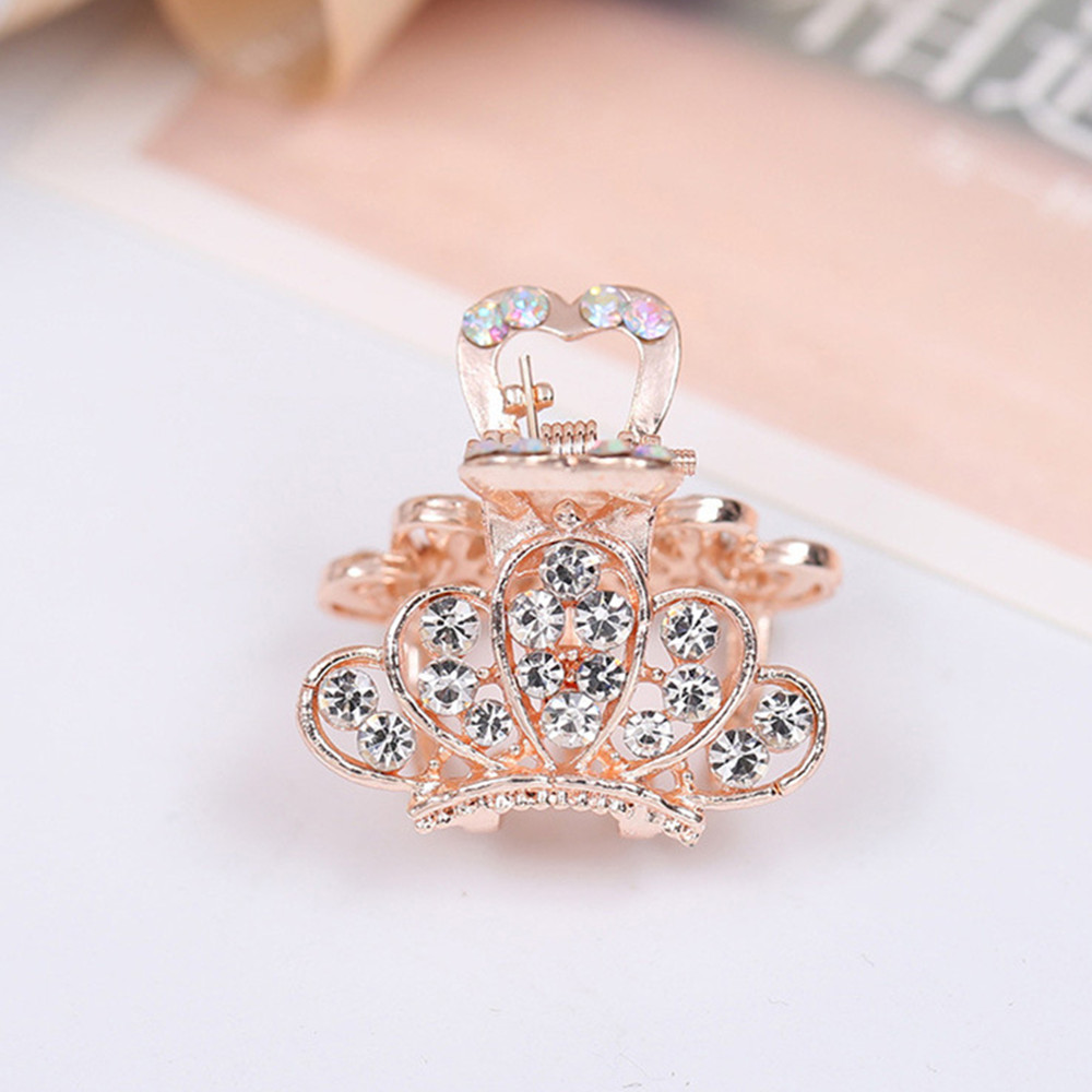 New Chic Fashion Rhinestone Crown Hairpin Headwear Accessories Imitation Crystal Metal Hair Clip For Women  Hair Claw Hot Sell