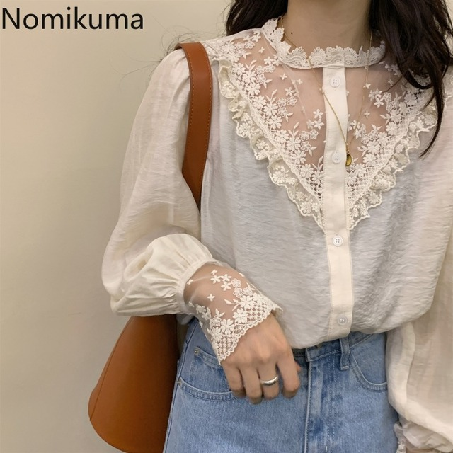 Nomikuma Elegant Vintage Stand Collar Long Sleeve Shirts Lace Patchwork See Through Fashion New Tops Blouse Women Blusas 3a236 4