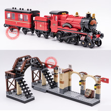 New Express Train Station Hogwarts Figures Fit Legoings Technic Blocks Bricks Model Building Kits Toy Kid Potter Gift Diy new movie potter great wall house fit legoings castle figures building blocks bricks model kid toys children kid gift birthday