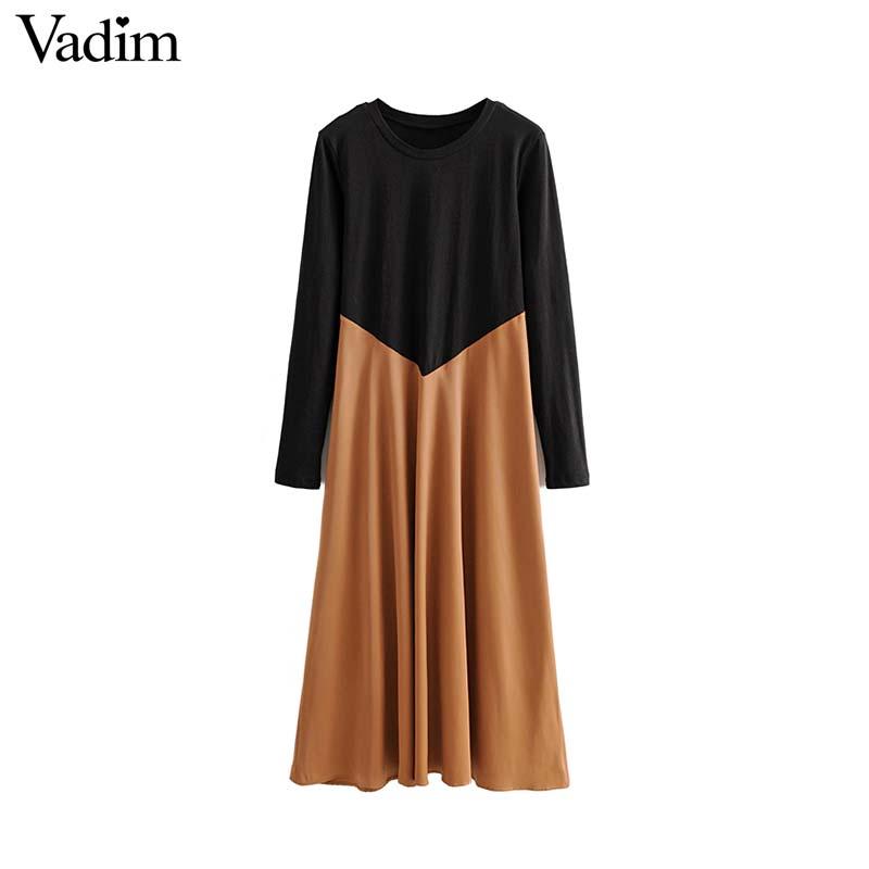 Vadim women chic spliced midi dress patchwork long sleeve O neck elegant female office wear mid calf dresses vestidos QC986Dresses   -