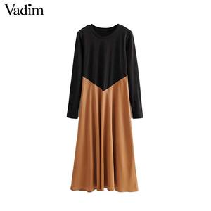 Image 1 - Vadim women chic spliced midi dress patchwork long sleeve O neck elegant female office wear mid calf dresses vestidos QC986