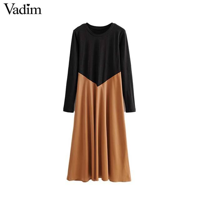 Vadim women chic spliced midi dress patchwork long sleeve O neck elegant female office wear mid calf dresses vestidos QC986